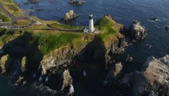 Aerial view of  Yaquina Head Lighthouse, Newport, Oregon Stock Footage