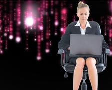 Composite image of businesswoman sitting on swivel chair with laptop - stock illustration