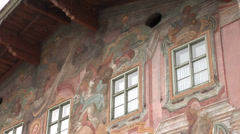 Painted facade at house in Mittenwald, Germany. Winter, Christmas time. Stock Footage