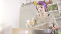 Young people in the kitchen. Student house accommodation.  Flat share with - stock footage
