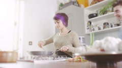 Young people in the kitchen. Student house accommodation.  Flat share with Stock Footage