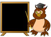 Stock Illustration of Wise owl teacher with blackboard (vector version; available as raster too)