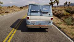 Van on highway. California desert. Stock Footage