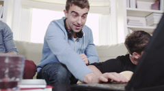 Young men having fun with phone and technology Stock Footage