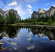 Yosemite National Park Valley View reflections on Merced river - stock photo