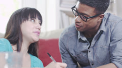 Young people with technology. Student house accommodation.  Flat share with Stock Footage