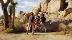 Group of young people in the desert - stock footage