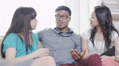 Stock Video Footage of Young people social gathering. Student house accommodation.  Flat share with