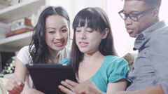 Young people with technology. Student house accommodation.  Flat share with - stock footage