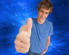 Composite image of fisheye view of a male student the thumb-up - stock illustration