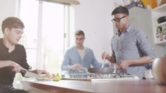 Young people cooking. Student house accommodation. - stock footage