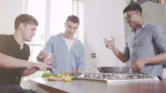 Young people cooking. Student house accommodation. Stock Footage