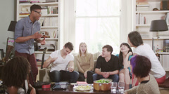 Young people social gathering. Student house accommodation.  Flat share with Stock Footage