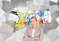 Stock Illustration of Composite image of confident female executive with folded arms