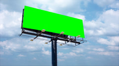 Advertising billboard high in the sky, left blank for titles. Stock Footage