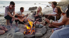 Group of young people at the beach Stock Footage