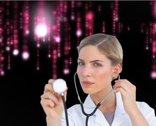 Composite image of serious nurse listening with stethoscope - stock illustration