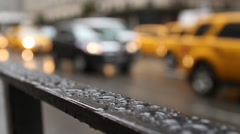 5th Avenue, New York,  Rain, raindrops, Cabs Stock Footage