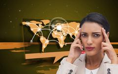 Composite image of young businesswoman putting her fingers on her temples Stock Illustration