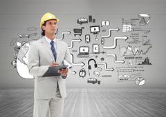 Stock Illustration of Composite image of architect taking notes