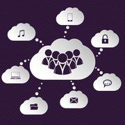 Stock Illustration of Cloud network representation with speech bubbles