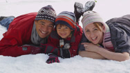 Stock Video Footage of Portrait of family in winter snow
