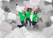 Stock Illustration of Composite image of enviromental activists jumping and smiling