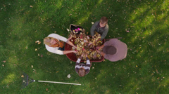 Family playing with autumn leaves. Overhead shot. - stock footage