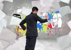 Stock Illustration of Composite image of unsmiling asian businessman pointing