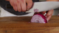 Chopping red onion Stock Footage