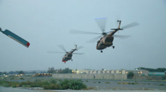 Afghan Air Force Mi-17 and Mi-35 helicopters Stock Footage