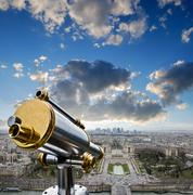 View from the eiffel tower at la defense quarter Stock Photos
