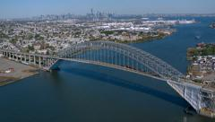 Aerial shot of Bayonne Bridge, New York Stock Footage