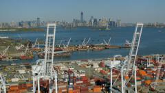 Aerial shot of New York docks Stock Footage