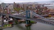 Stock Video Footage of Aerial shot of Manhattan & Brooklyn Bridges