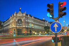 gran via street in madrid by night - stock photo