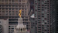 Gold statue atop Manhattan Municipal Building, New York City - stock footage