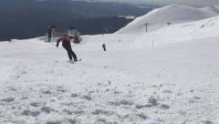 People Learning Ski in Mountains, Tourists Skiing in Alps, Slope, Winter Sports - stock footage