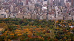 Aerial shot  of Central Park in Autumn color Stock Footage
