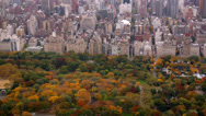 Stock Video Footage of Aerial shot  of Central Park in Autumn color