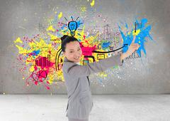 Stock Illustration of Composite image of smiling asian businesswoman pointing