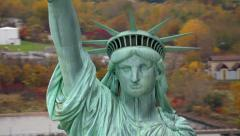 Statue of Liberty closeup, aerial shot Stock Footage