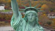 Stock Video Footage of Statue of Liberty closeup, aerial shot