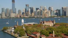 Aerial shot of Ellis Island and New York City - stock footage