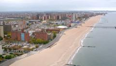 Aerial view of Coney Island beach, New York City Stock Footage