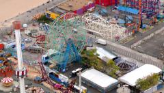 Aerial view of Coney Island, New York City Stock Footage