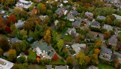 Aerial shot of New York suburb Stock Footage