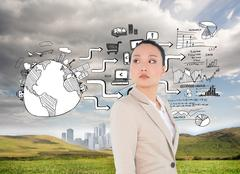 Stock Illustration of Composite image of unsmiling asian businesswoman