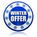 Stock Illustration of winter offer on blue circle banner with snowflakes symbols