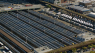 Stock Video Footage of Aerial shot of New York train lot